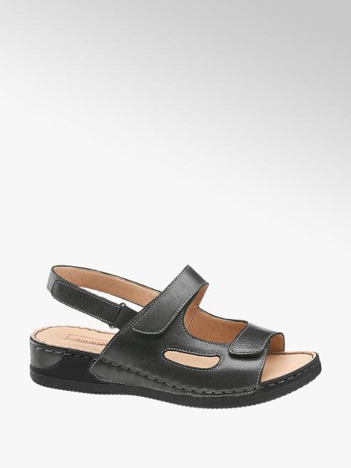 Medicus Black Leather Comfort Sandals