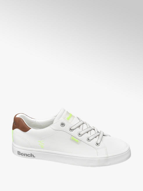 Bench White Bench Lace Up Trainers with Neon Detail