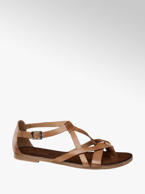 5th Avenue Cognac leren sandaal