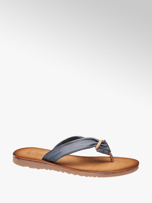 5th Avenue Blue Leather Toe Post Sandals