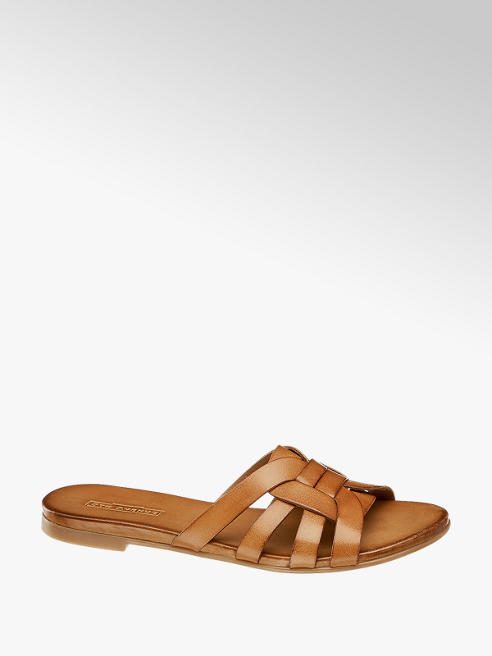 5th Avenue Tan Leather Mule Sandals