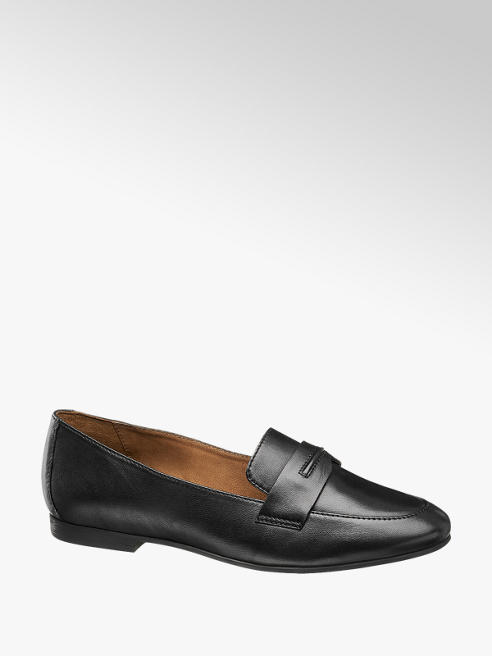 5th Avenue Black Smooth Leather Loafers