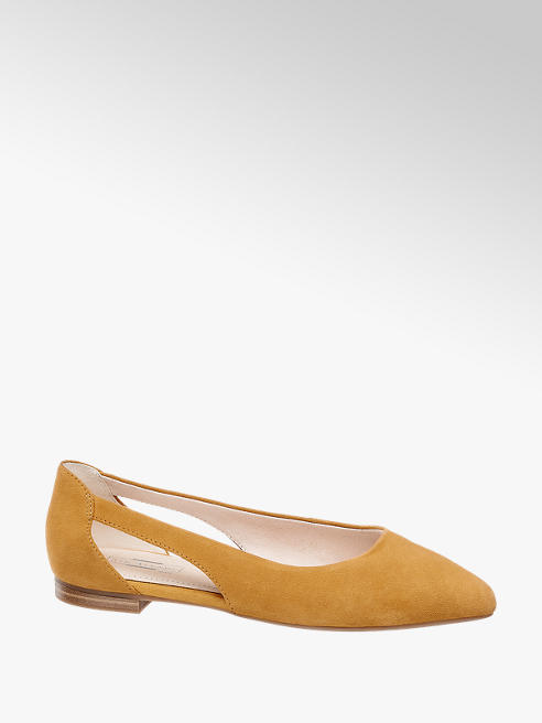 5th Avenue Mustard Leather Cut Out Ballerinas