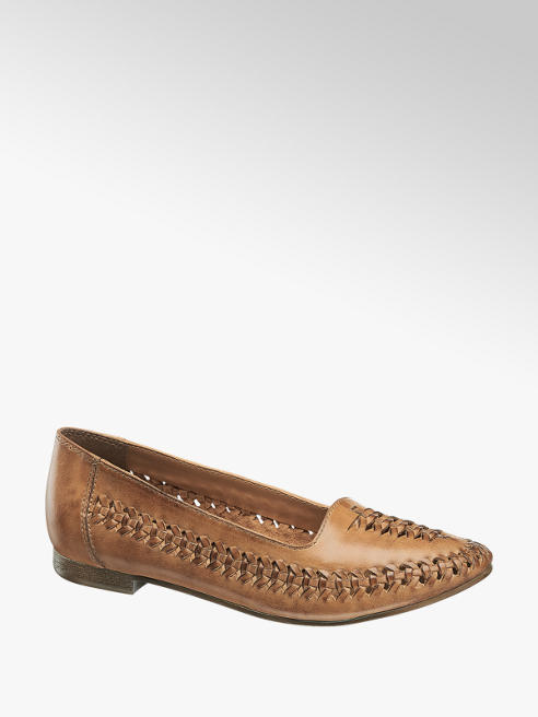 5th Avenue Cognac Leather Woven Loafers