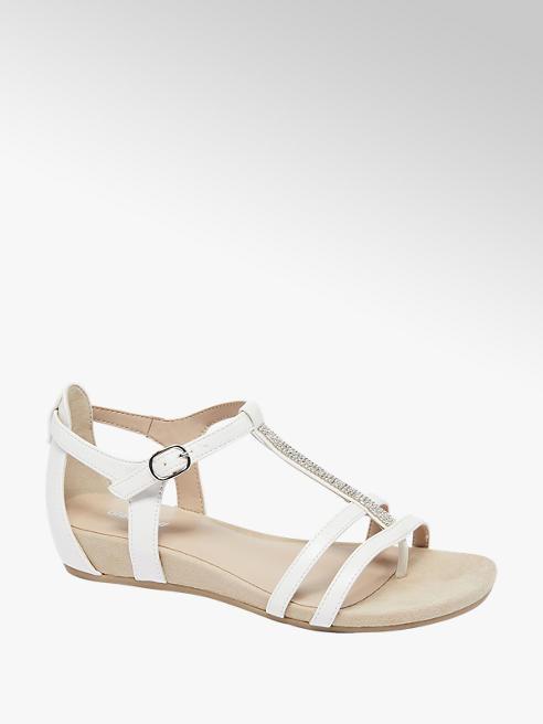 Graceland White Diamante Detail Sandals