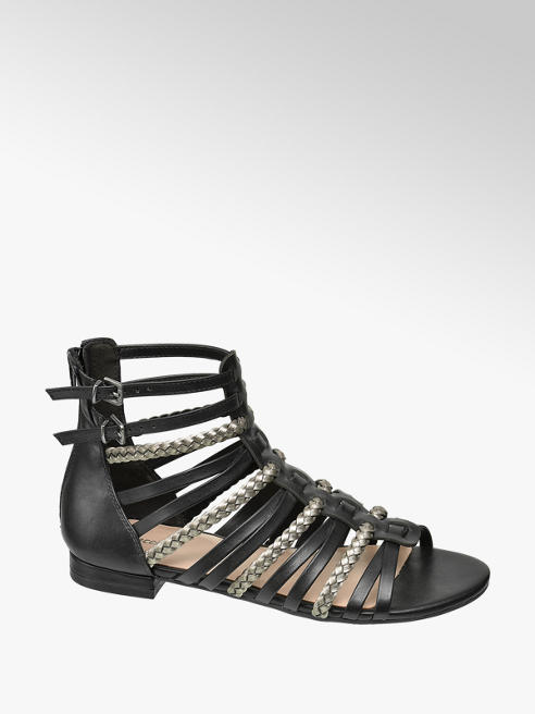 Graceland Black and Silver Gladiator Sandals