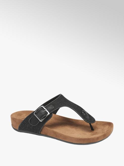 Graceland Black Shimmer Footbed Sandals