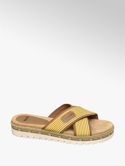 Bench Yellow Cross Strap Mule Sandals