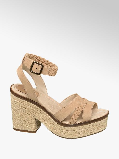 Graceland Beige sandalette touwzool