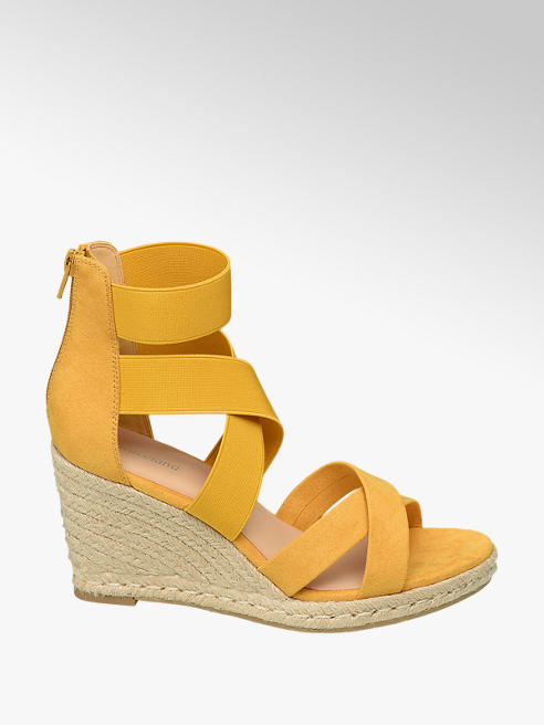 Graceland Yellow Strappy Wedge Sandals