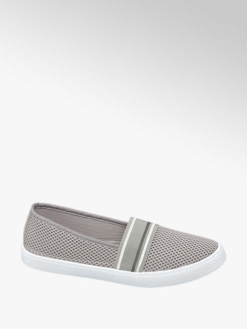 Blue Fin Ladies Blue Fin Grey Slip-on Canvas Shoes