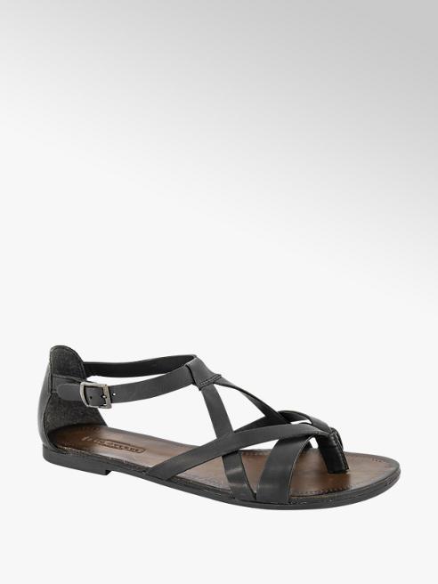 5th Avenue Zwarte leren sandaal