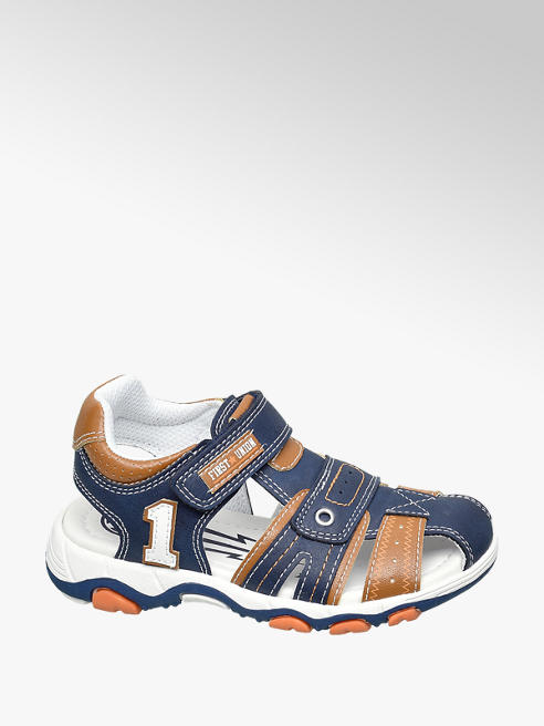 Bobbi-Shoes Toddler Boys Navy and Tan Sporty Sandals