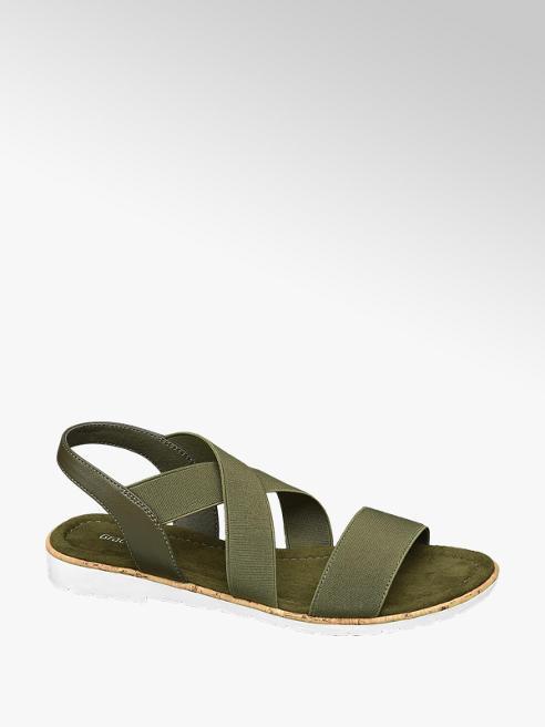 Graceland Olijfgroene sandaal elastiek