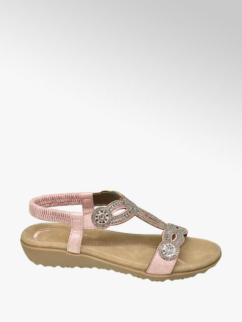 Easy Street Metallic Pink Diamante Sandals