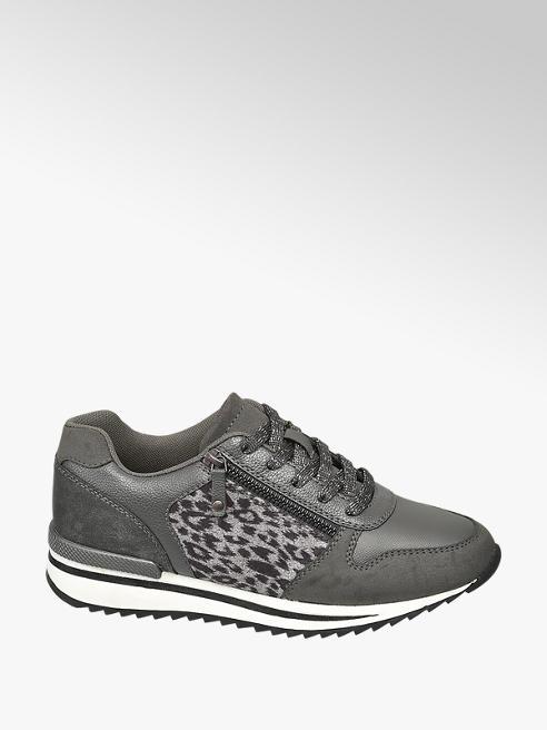 Graceland Grijze sneaker panterprint