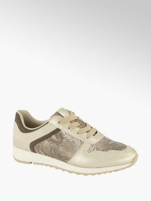 Graceland Goudkleurige sneaker slangenprint