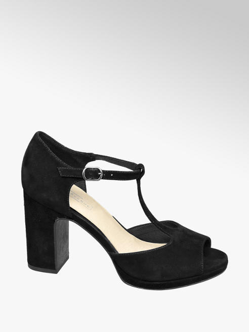 5th Avenue Zwarte suède pump t-strap