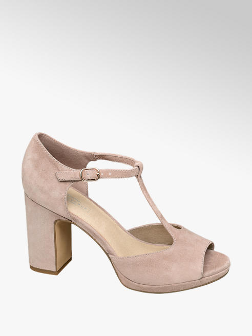 5th Avenue Roze suède pump t-strap