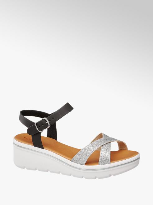 Graceland Zwarte sandalette metallic