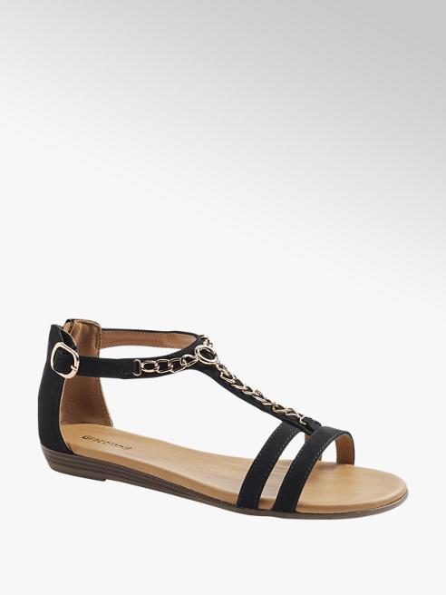 Graceland Zwarte sandaal sierketting