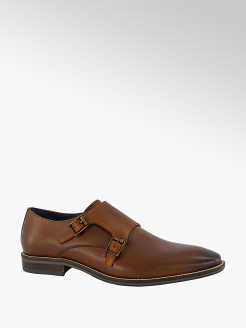 AM shoe Cognac leren geklede schoen gespsluiting