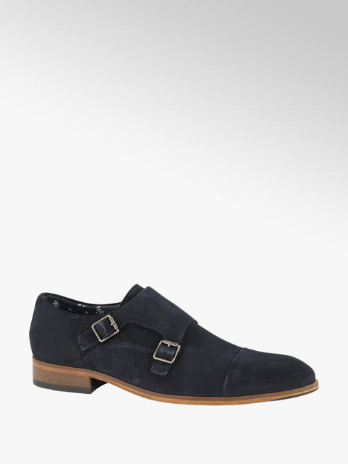 AM shoe Blauwe suède geklede schoen gespsluiting