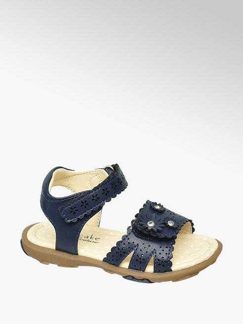 Cupcake Couture Toddler Girls Navy Gem Detailed Sandals with Scallop Edge