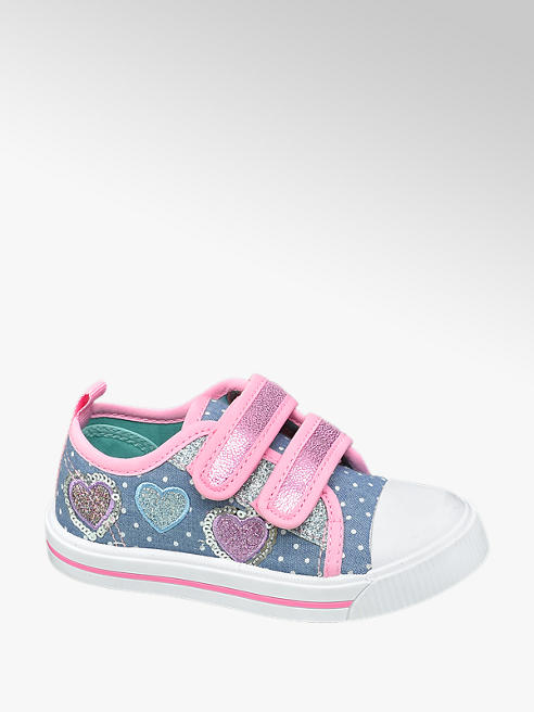Cupcake Couture Toddler Girls Denim and Pink Twin Strap Trainers