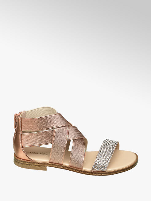 Graceland Junior Girl Elasiticated Rose Gold Sandals with Gem Detail