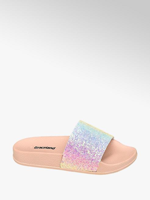 Graceland Junior Girl Rainbow Glitter Sliders
