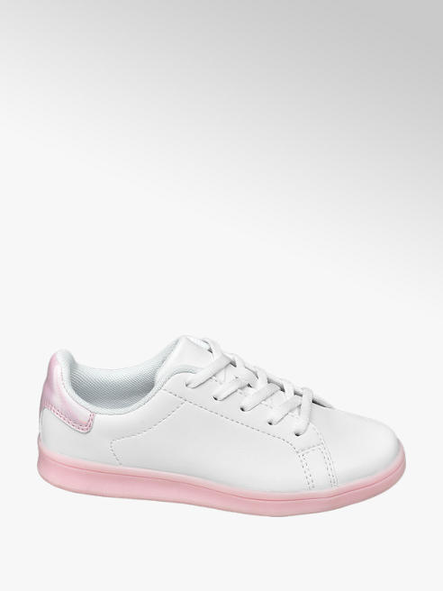 Graceland Junior Girls White and Pink Cup Sole Lace Up Trainers