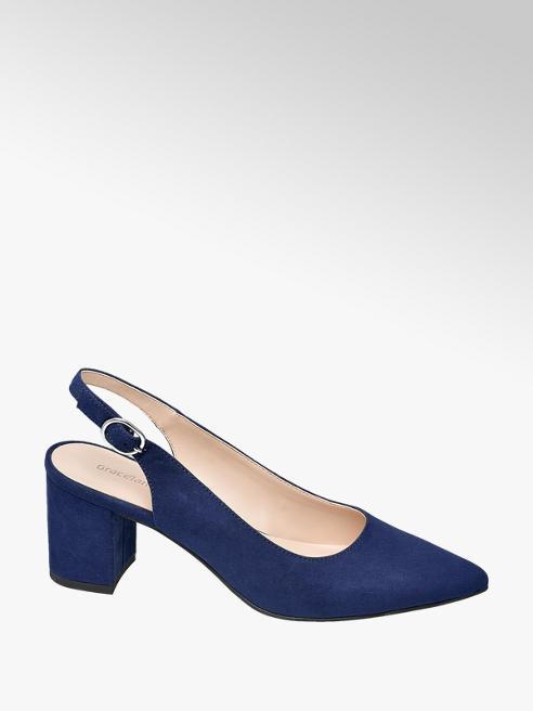 Graceland Navy Blue Faux Suede Block Heels