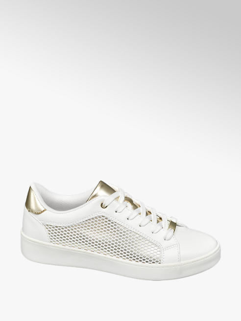 Graceland White and Gold Lace Up Trainers with Mesh Detail