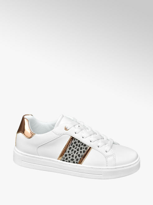 Graceland White Lace Up Casual Traines with Side Stripe Detail