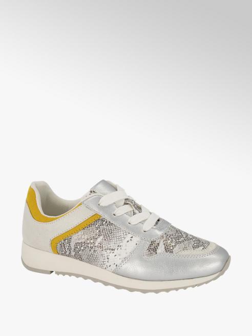 Graceland Zilverkleurige sneaker slangenprint