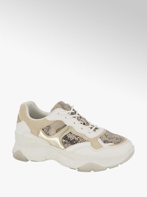 Graceland Witte chunky sneaker slangenprint