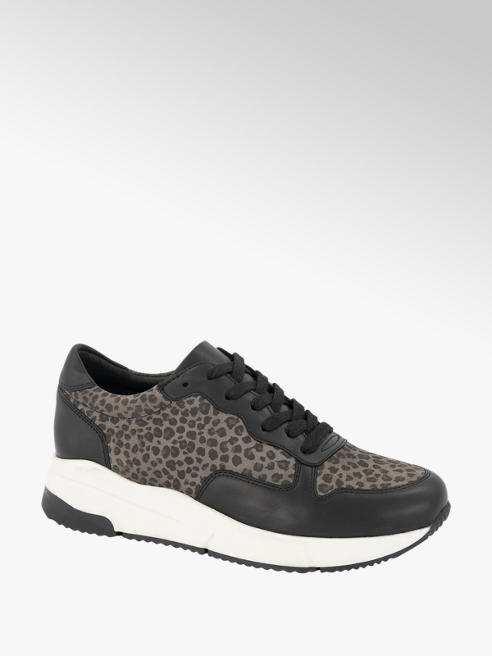 5th Avenue Zwarte leren sneaker panterprint