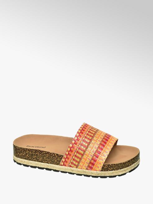 Graceland Orange Footbed Mule Sandals