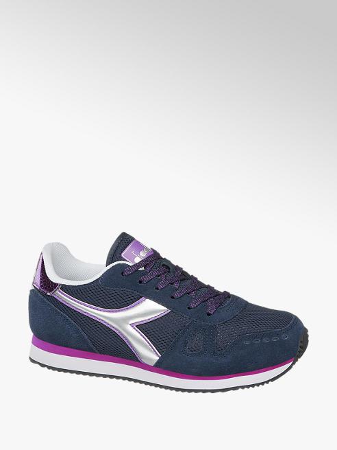 Diadora Donkerblauwe suède sneaker metallic