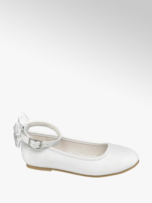 Graceland Junior Girls White Bow Heel Ballerinas