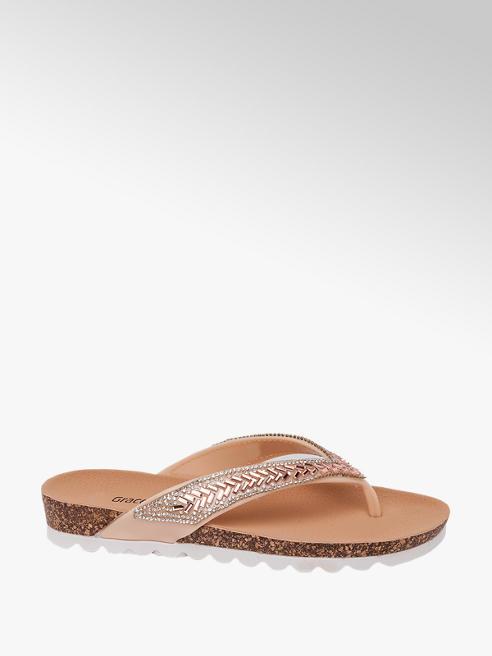 Graceland Ladies Graceland Rose Gold Jewel Toe-Post Sandals