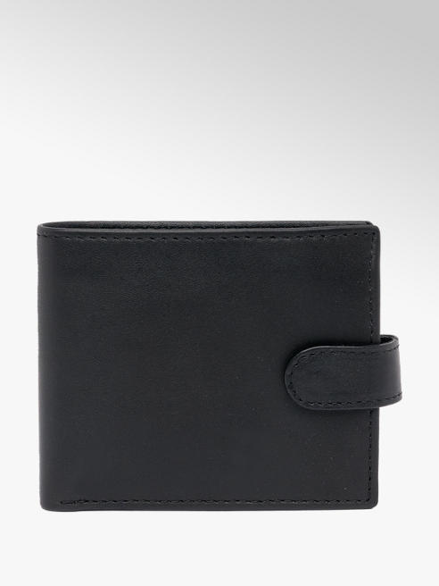 Borelli Black Leather Wallet With Tab