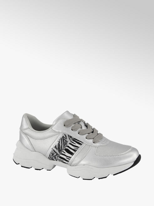 Graceland Zilveren sneaker zebraprint