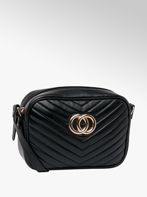 Graceland Black Ring Detail Quilted Cross Body Bag