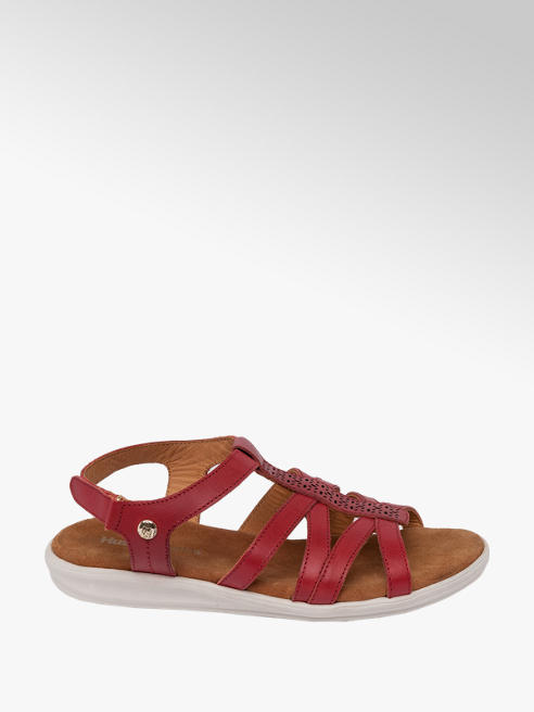Hush Puppies Red Leather Touch Fasten Sandals