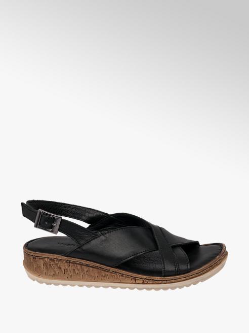 Hush Puppies Black Leather Cross Strap Sandals