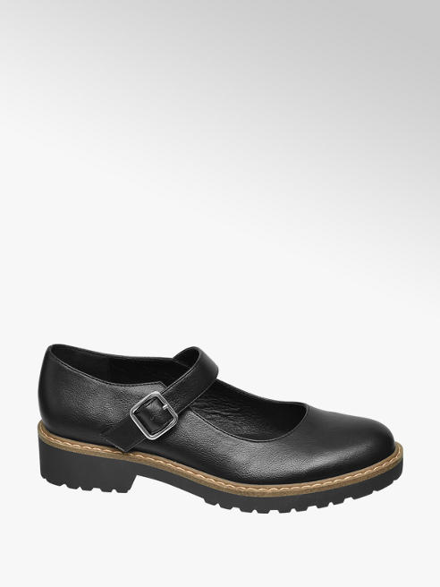 Graceland Black Chunky Bar Shoes