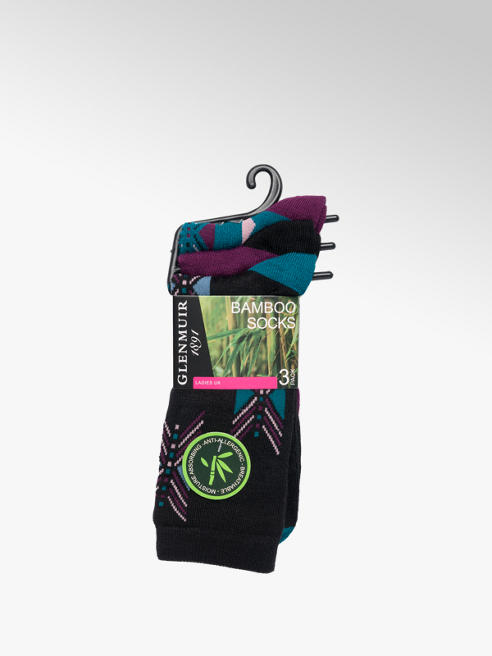 Glenmuir Ladies Glenmuir Mutli-coloured 3pk Bamboo Socks