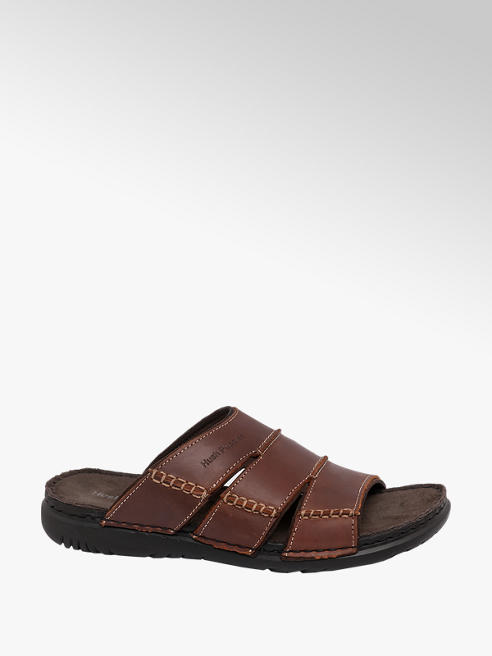 Hush Puppies Mens Hush Puppies Brown Leather Mule Sandals